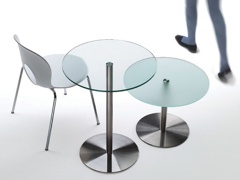 Round crystal and steel coffee table DESCO by REXITE