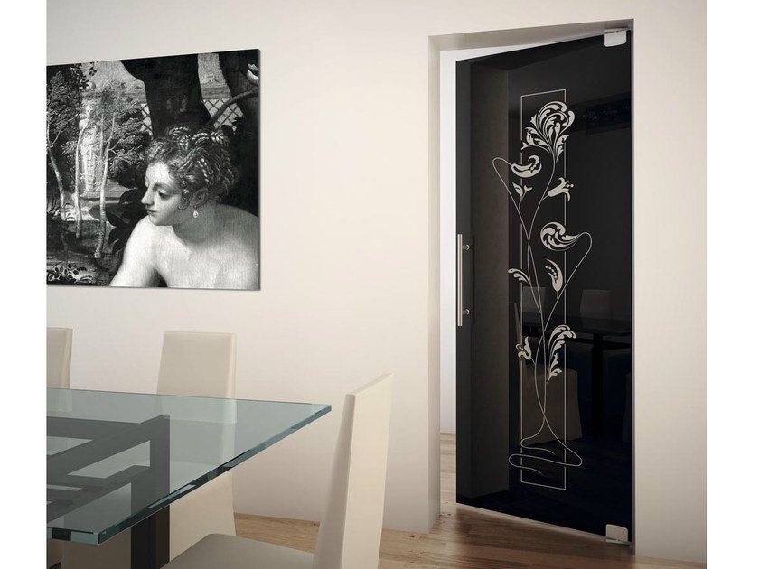 Double-acting door with snap closing and pivot hinges SINTHESY SLIVER V4/MF by FOA
