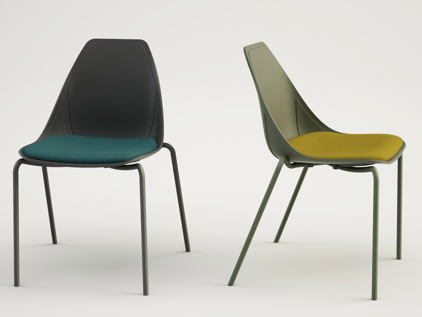Upholstered fabric chair X FOUR SOFT by ALMA DESIGN