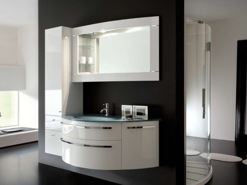 Vanity unit with cabinets with mirror AB 219 by RAB Arredobagno