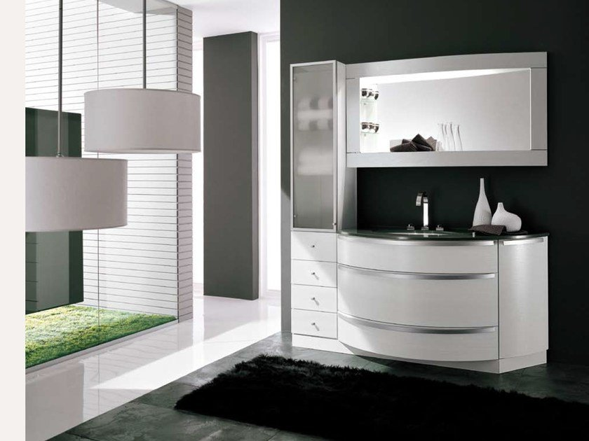 Vanity unit with cabinets with mirror AB 507 by RAB Arredobagno