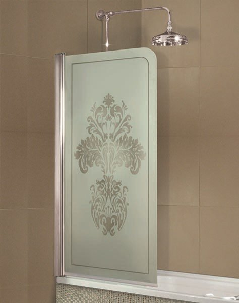 Glass and steel bathtub wall panel ARCADIA FLORAL by GENTRY HOME