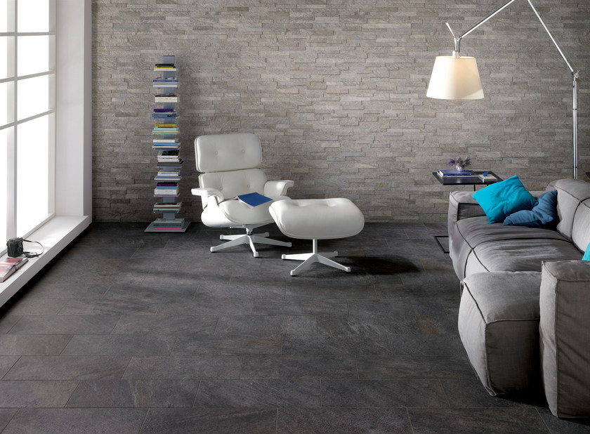 Indoor/outdoor wall/floor tiles PERCORSI QUARTZ BLACK by CERAMICHE KEOPE