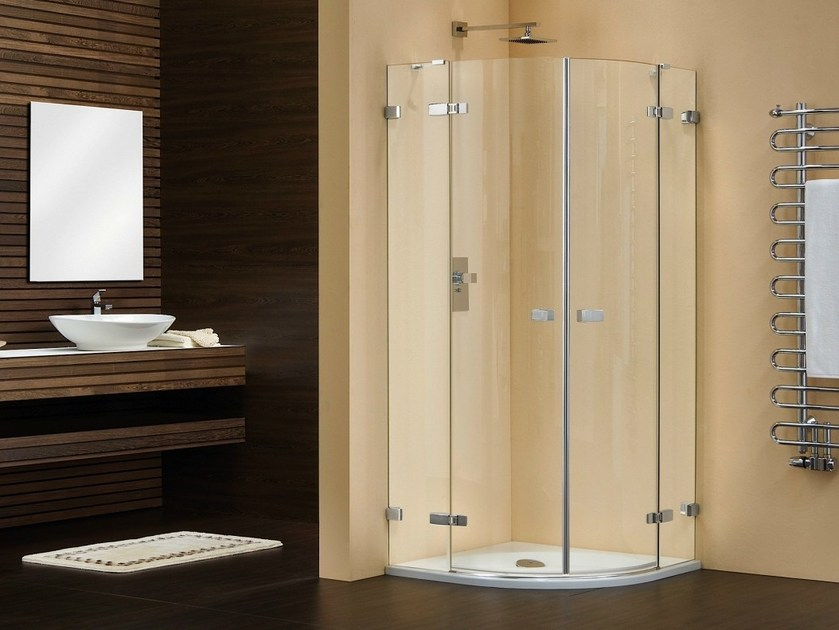 Corner shower cabin with hinged door VETRA 3000 | Semicircular shower cabin by Duka