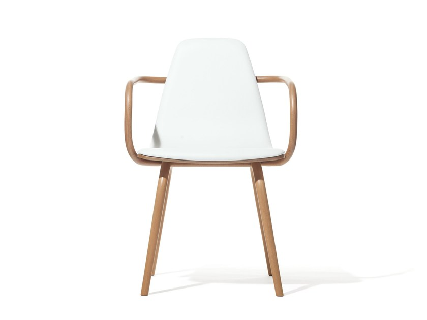 Upholstered wooden chair with armrests TRAM | Wooden chair by TON