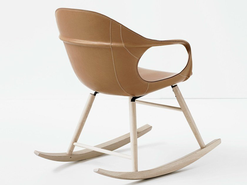 Rocking tanned leather chair ELEPHANT ROCKING | Tanned leather chair by Kristalia