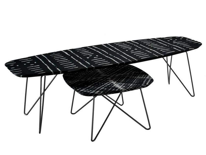Coffee table with resin-coated fabric top INK 668 by Zanotta