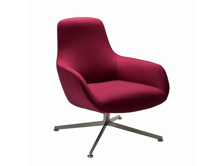 Bergere swivel armchair with 4-spoke base KENT 895 by Zanotta