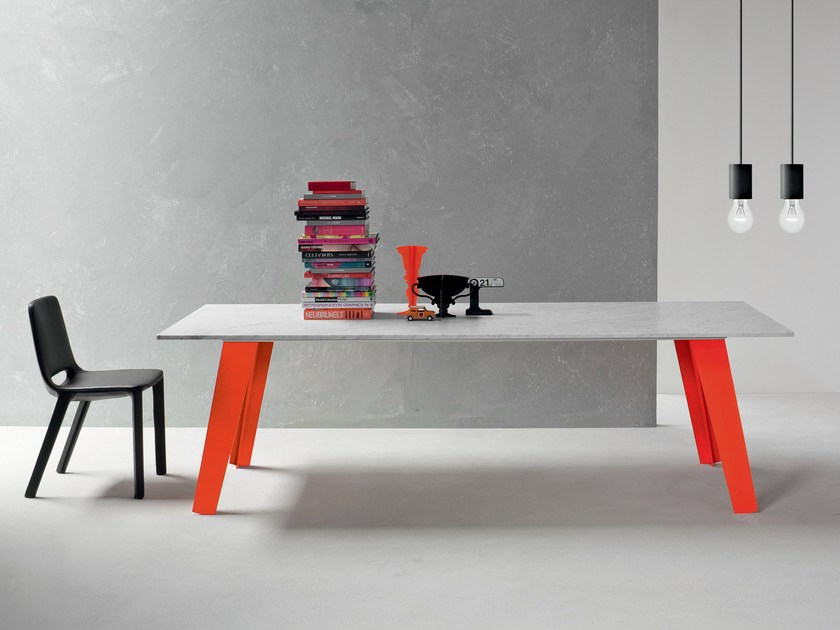 Rectangular marble table WELDED by Bonaldo