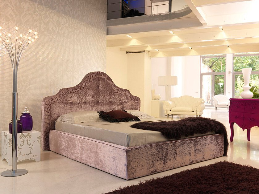 Double bed with removable cover with upholstered headboard ARABESQUE by Bodema