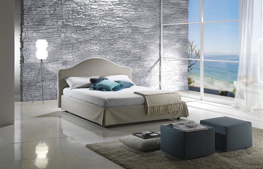 Double bed with removable cover with upholstered headboard DANUBIO by Bodema