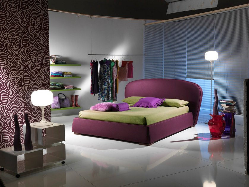 Double bed with removable cover with upholstered headboard FASHION by Bodema
