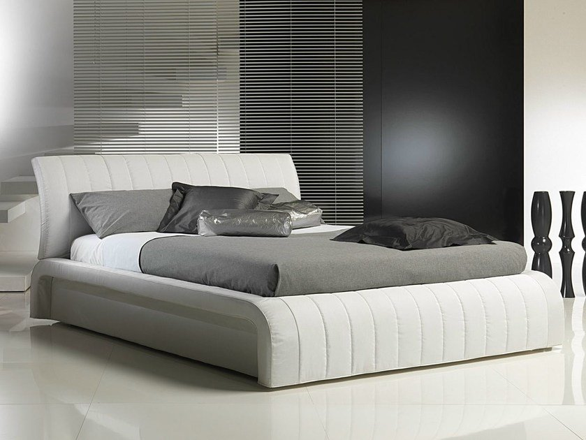 Double bed with removable cover with upholstered headboard MANHATTAN | Bed by Bodema