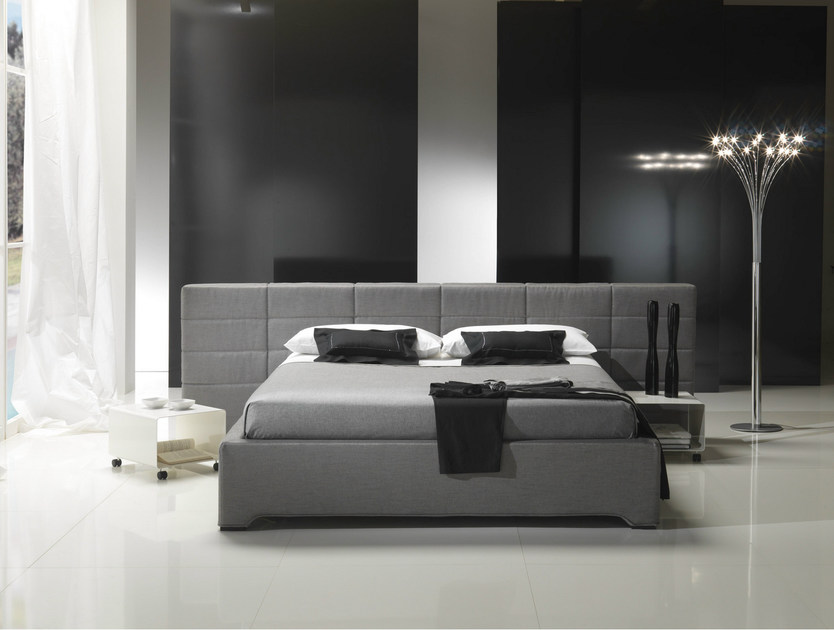 Double bed with removable cover with upholstered headboard PLAZA by Bodema