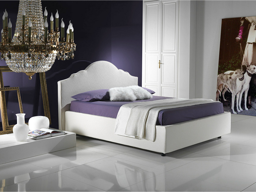Double bed with removable cover with upholstered headboard TIFFANY by Bodema