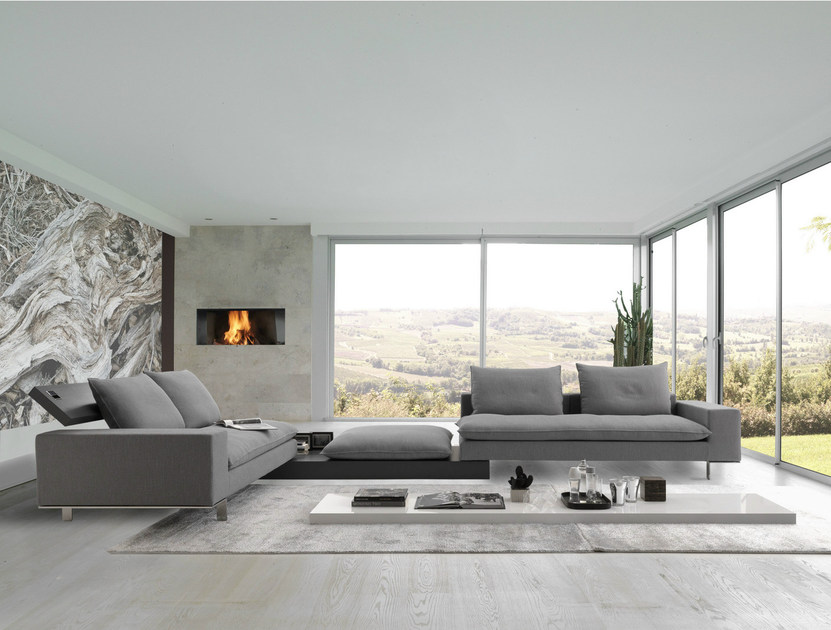 Sectional sofa with headrest MORE & MORE by Bodema