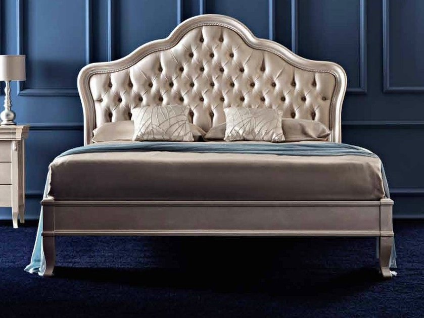 Upholstered double bed with upholstered headboard AIDA by CorteZari