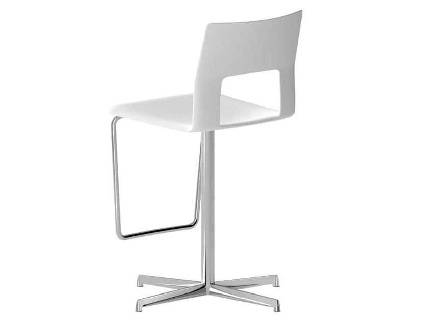 Swivel Baydur® stool with footrest KOBE | Swivel stool by Desalto
