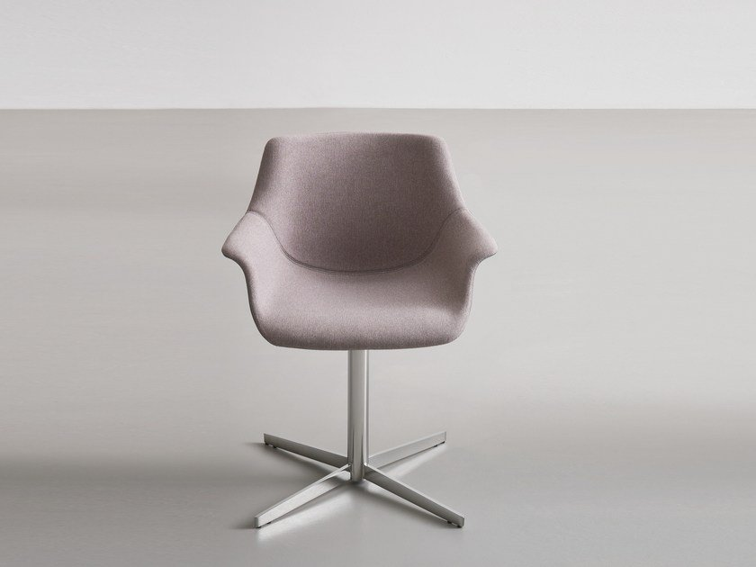 Upholstered chair with 4-spoke base with armrests MORE L by GABER