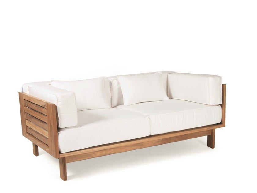 Upholstered teak garden sofa FALSTERBO | 2 seater garden sofa by Skargaarden