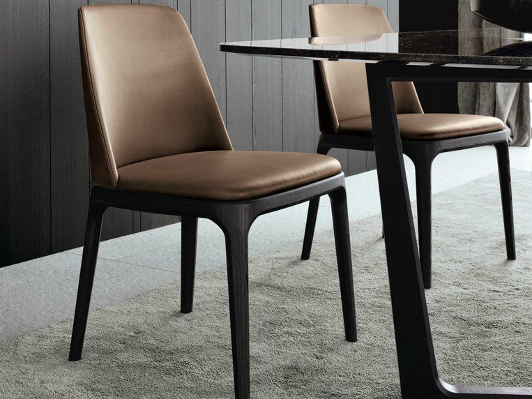 Upholstered leather chair GRACE | Leather chair by poliform