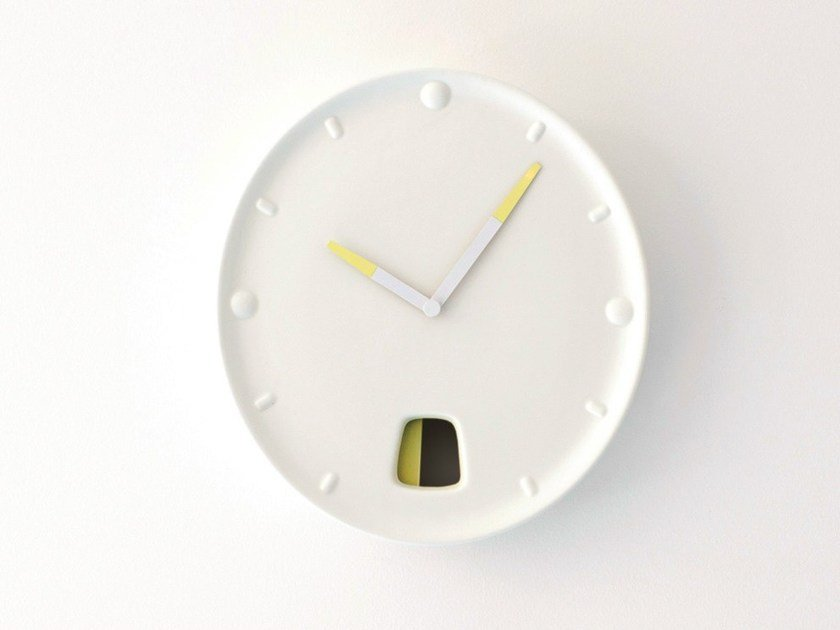 Wall-mounted ceramic clock GUICHET by Moustache