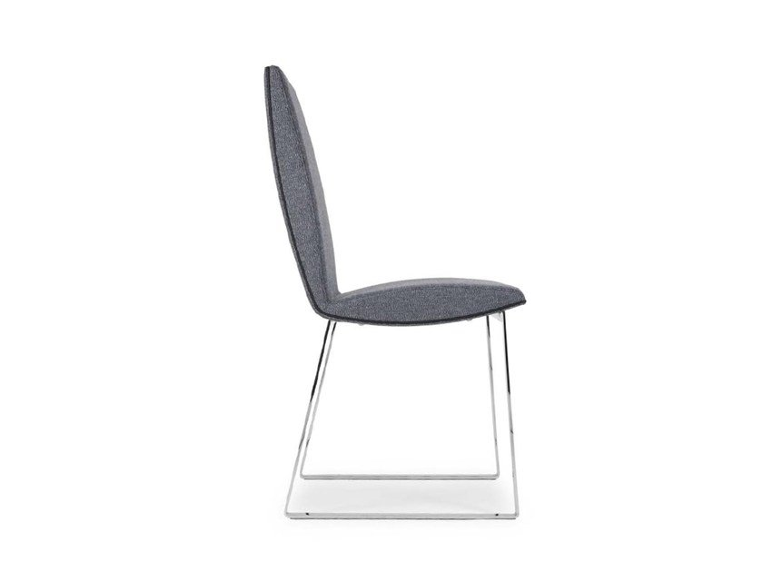 Sled base upholstered chair JONY STRIPE by Riccardo Rivoli