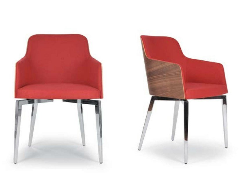 Upholstered chair with armrests MARLÈNE QUADRA | Upholstered chair by Riccardo Rivoli