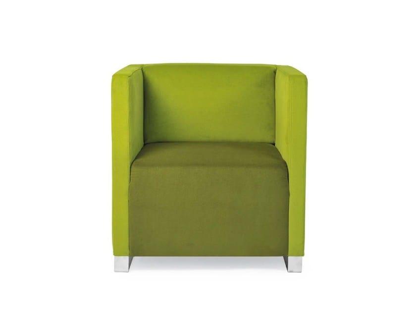 Upholstered fabric armchair Q-BÓ | Armchair by Riccardo Rivoli