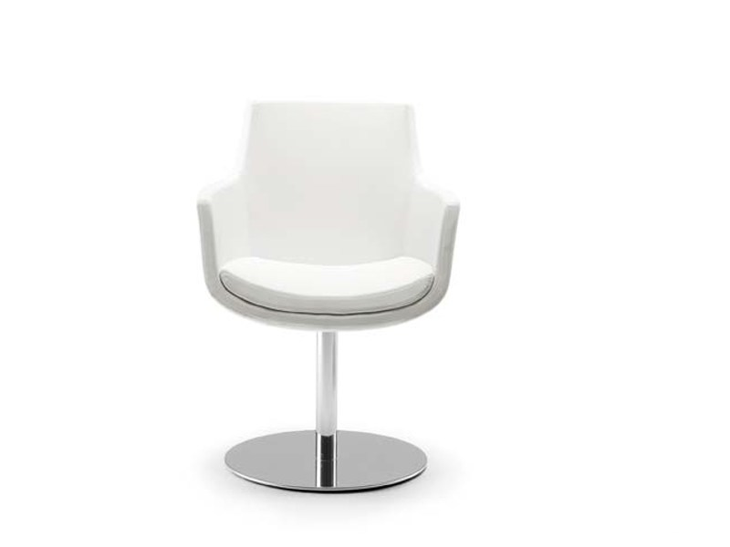 Swivel upholstered easy chair with armrests FELIX ROUND by Riccardo Rivoli