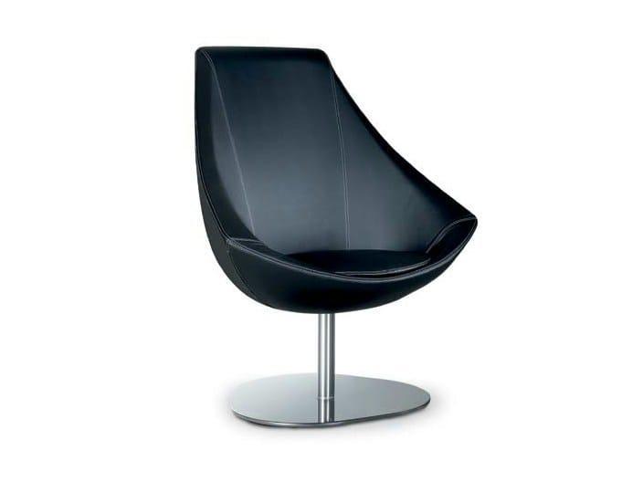 Swivel upholstered armchair BRERA ROUNDTRIANGLE by Riccardo Rivoli