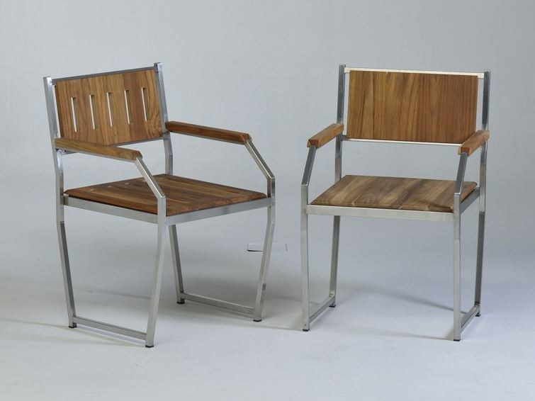 Steel and wood chair with armrests MARIN | Steel and wood chair by Lgtek Outdoor