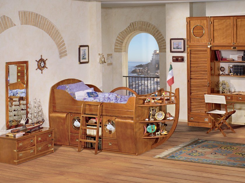 Fitted wooden bedroom set CAMERETTA DEL CAPITANO by Caroti