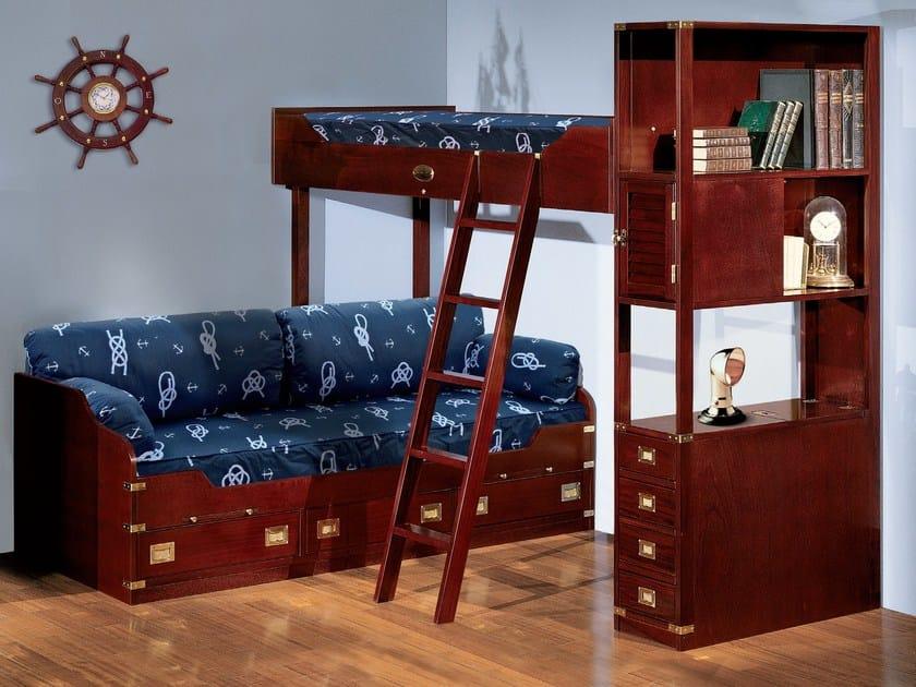 Loft wooden kids single bed 231 | Loft bed by Caroti