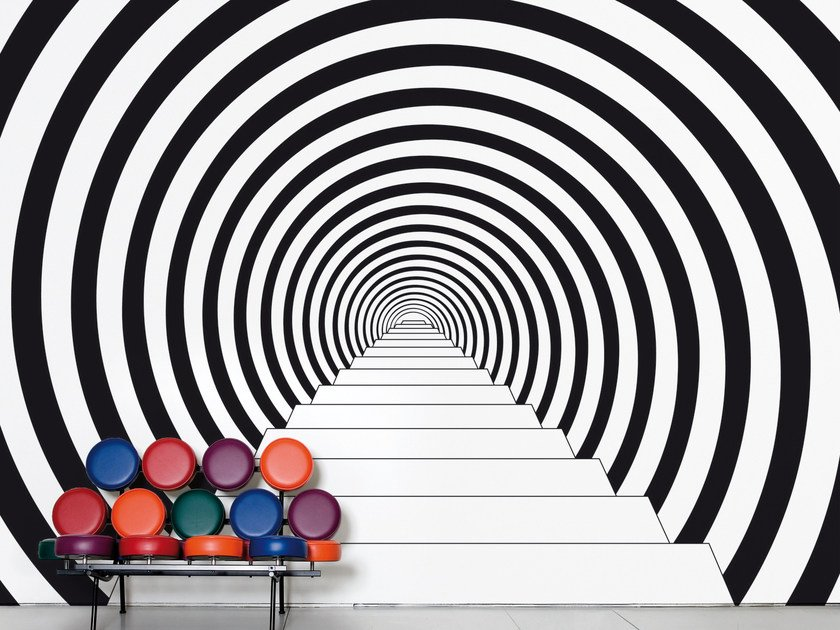 Optical non-woven paper wallpaper DOWN THE RABBIT HOLE by Moustache