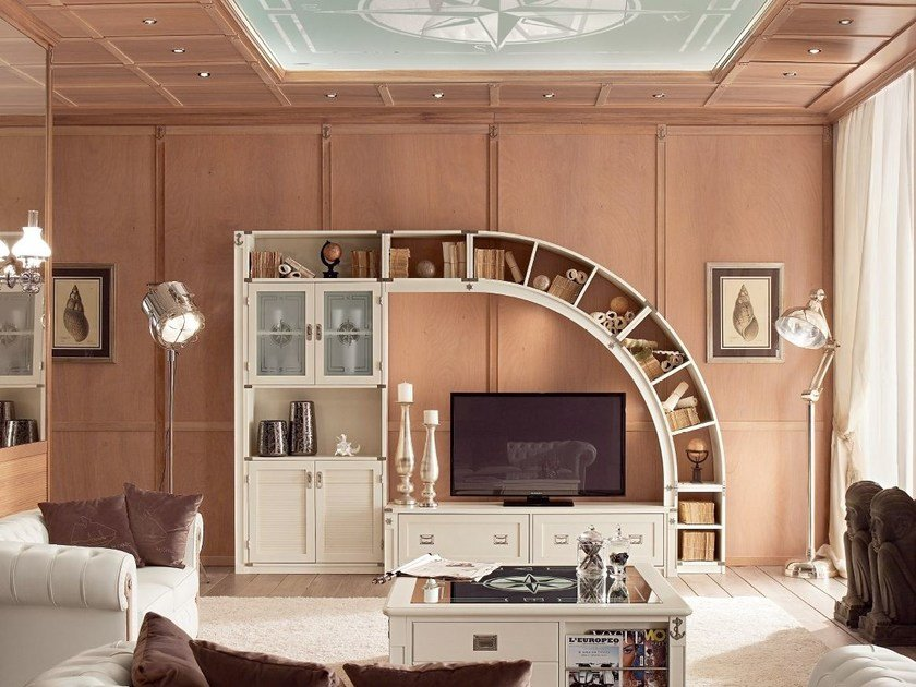 Lacquered wooden storage wall DEMÌ ARKATA by Caroti