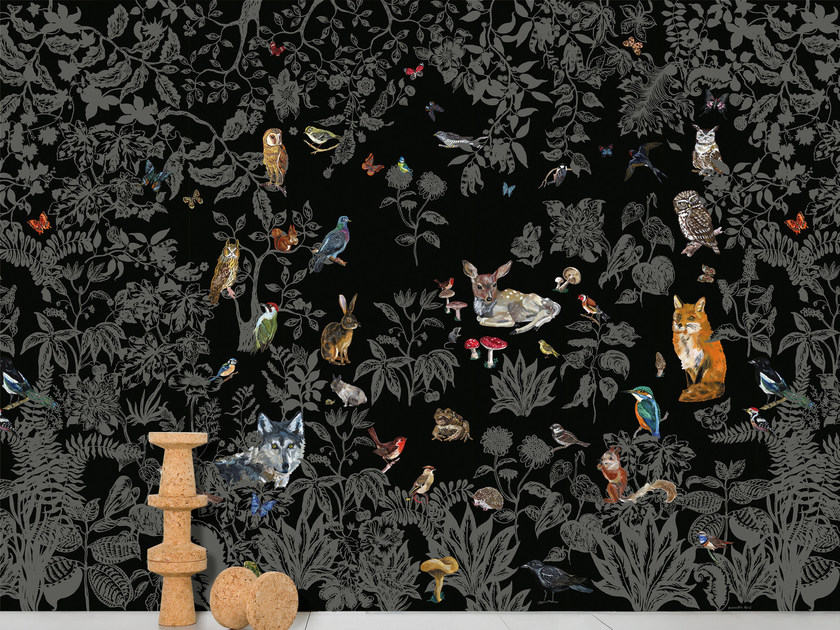 Panoramic non-woven paper wallpaper FORÈT NOIRE by Moustache