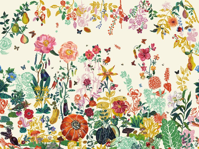 Wallpaper with floral pattern JARDIN CREME by Moustache