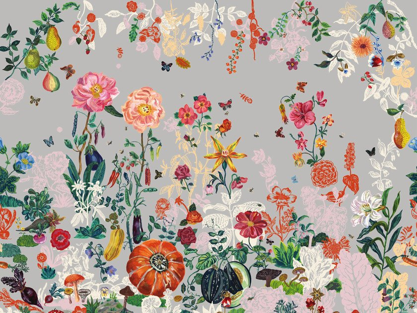 Wallpaper with floral pattern JARDIN GRIS by Moustache