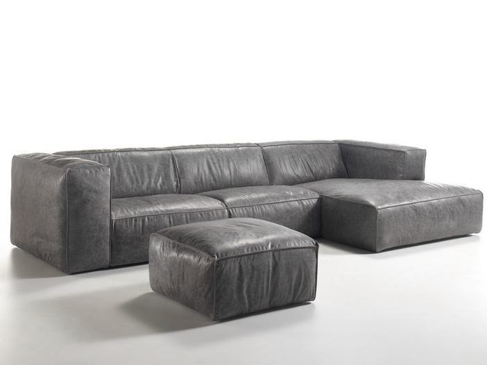 3 seater upholstered leather sofa with chaise longue FRANKI | Sofa with chaise longue by KARE-DESIGN