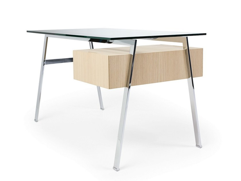 Glass writing desk with drawers HOMEWORK 1 GLASS TOP by BENSEN