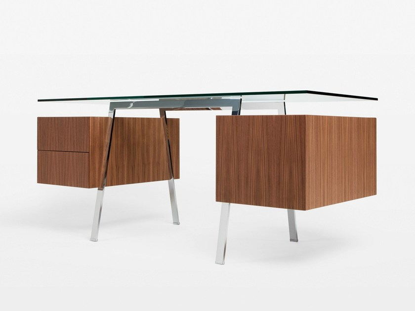 Glass writing desk with drawers HOMEWORK 2 GLASS TOP by BENSEN