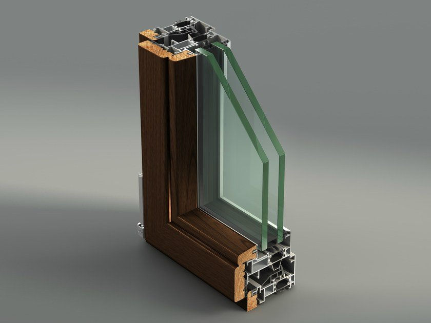 Aluminium and wood casement window AELLE 100 STH by METRA