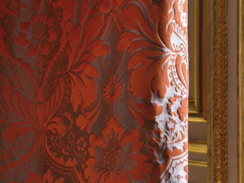 Damask fabric with floral pattern ODALISQUE by LELIEVRE