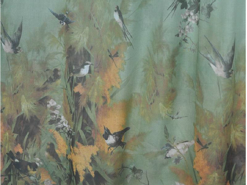 Printed cotton fabric for curtains SAISONS by LELIEVRE