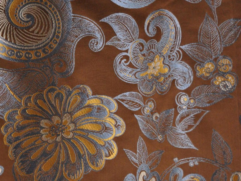 Silk fabric with floral pattern ISPAHAN by LELIEVRE