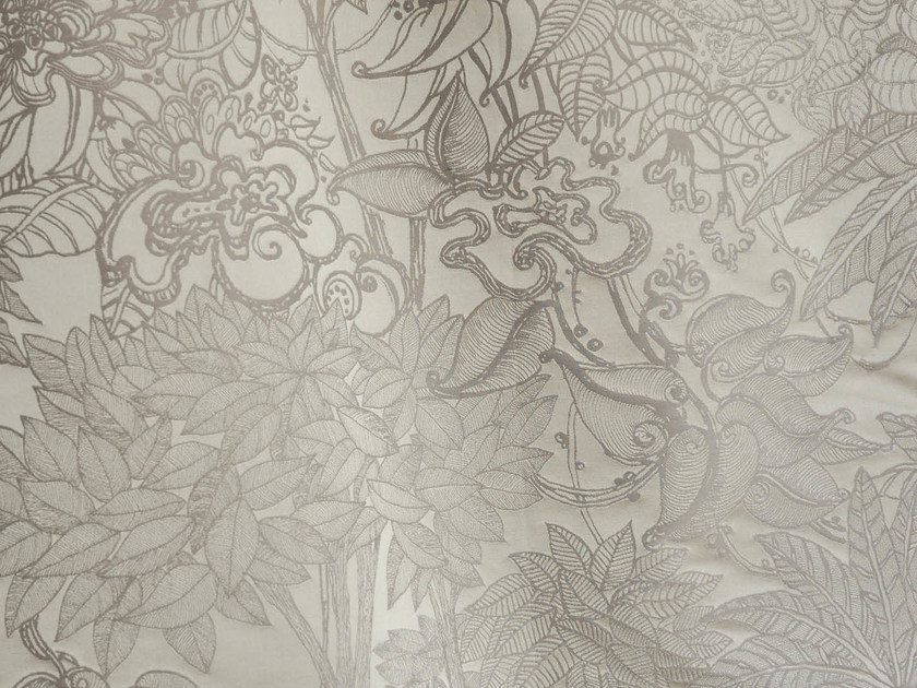 Damask cotton fabric with floral pattern JARDIN D'EDEN by LELIEVRE