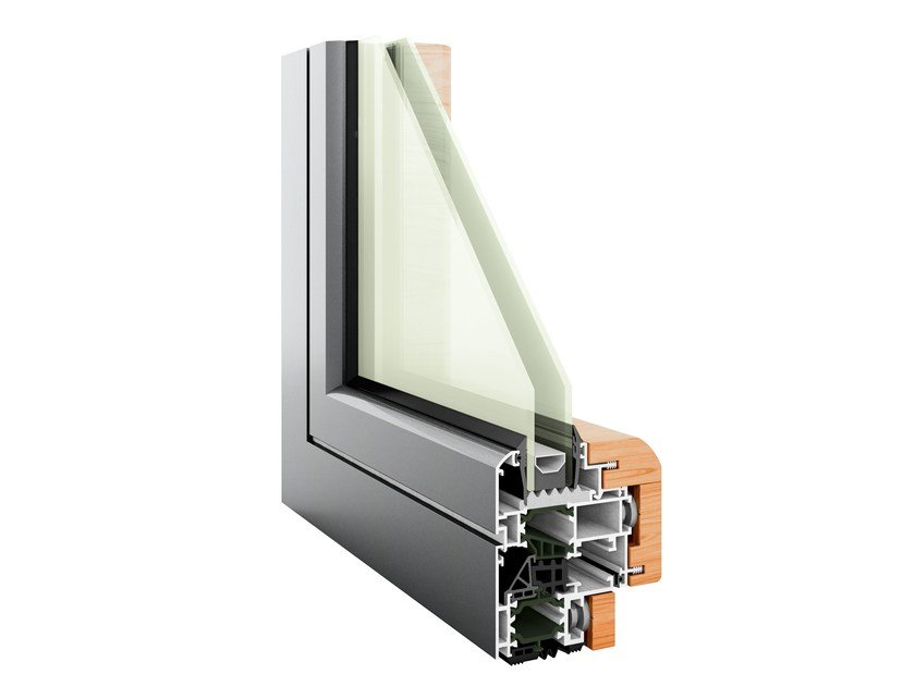 Aluminium and wood thermal break window HEVO 62 | Aluminium and wood window by PFT HEVO