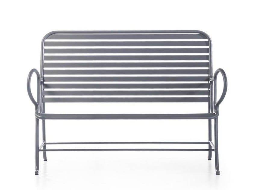 Garden bench with armrests GARDENIAS | Garden bench by BD Barcelona Design
