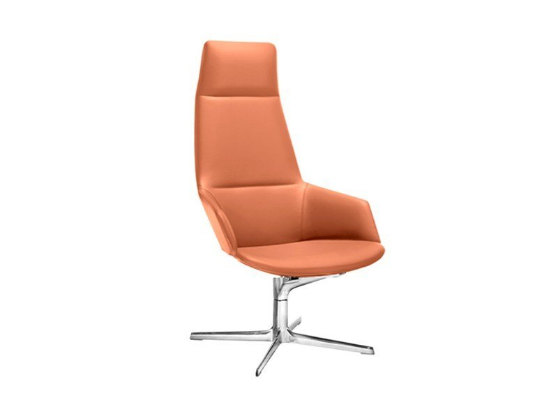 Swivel executive chair with 4-spoke base with armrests ASTON LOUNGE by arper